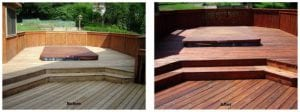 Deck-Staining-BeforeAfter Brothers Windows Hi Temp Power Wash before and after wood-deck